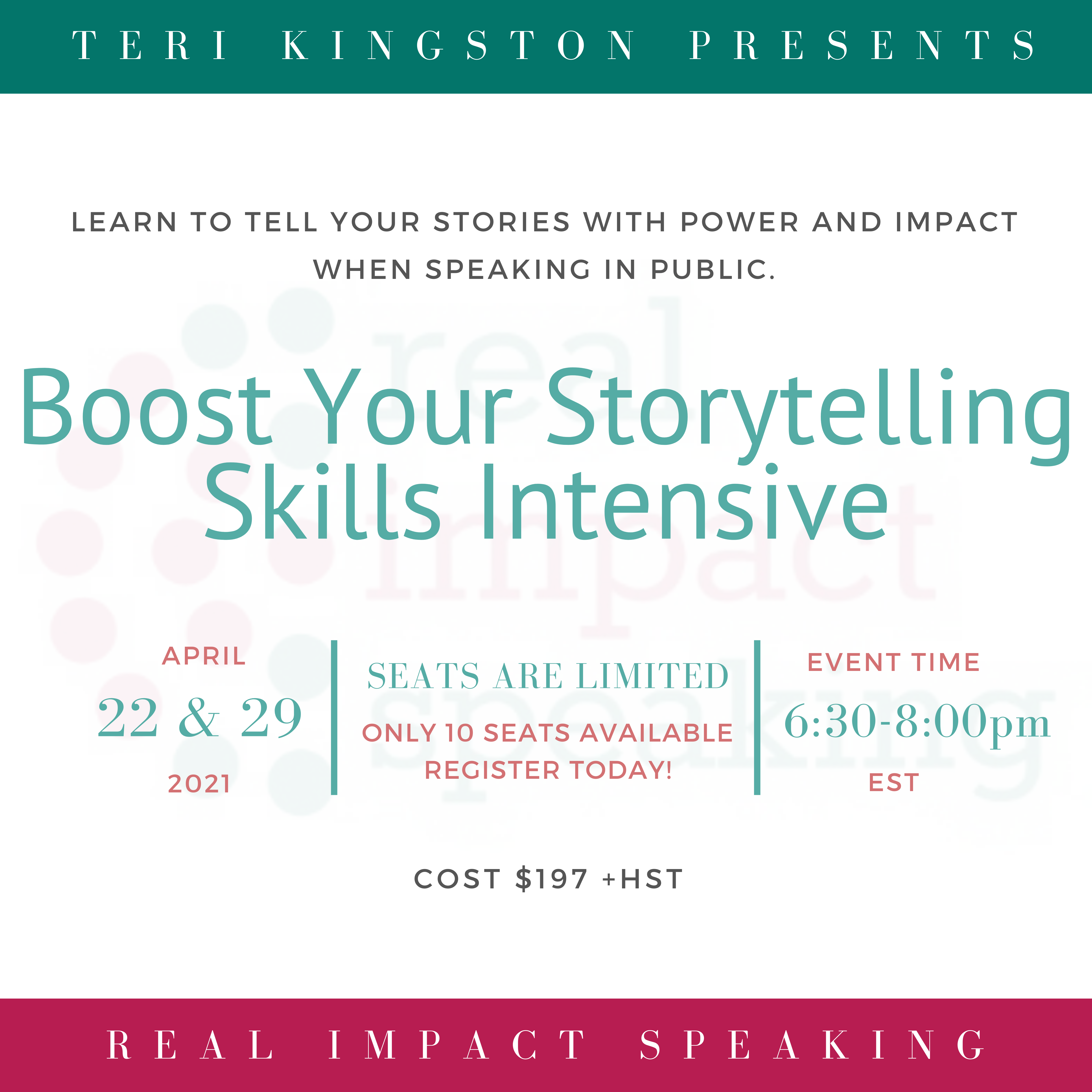 Boost Your Storytelling Skills Intensive